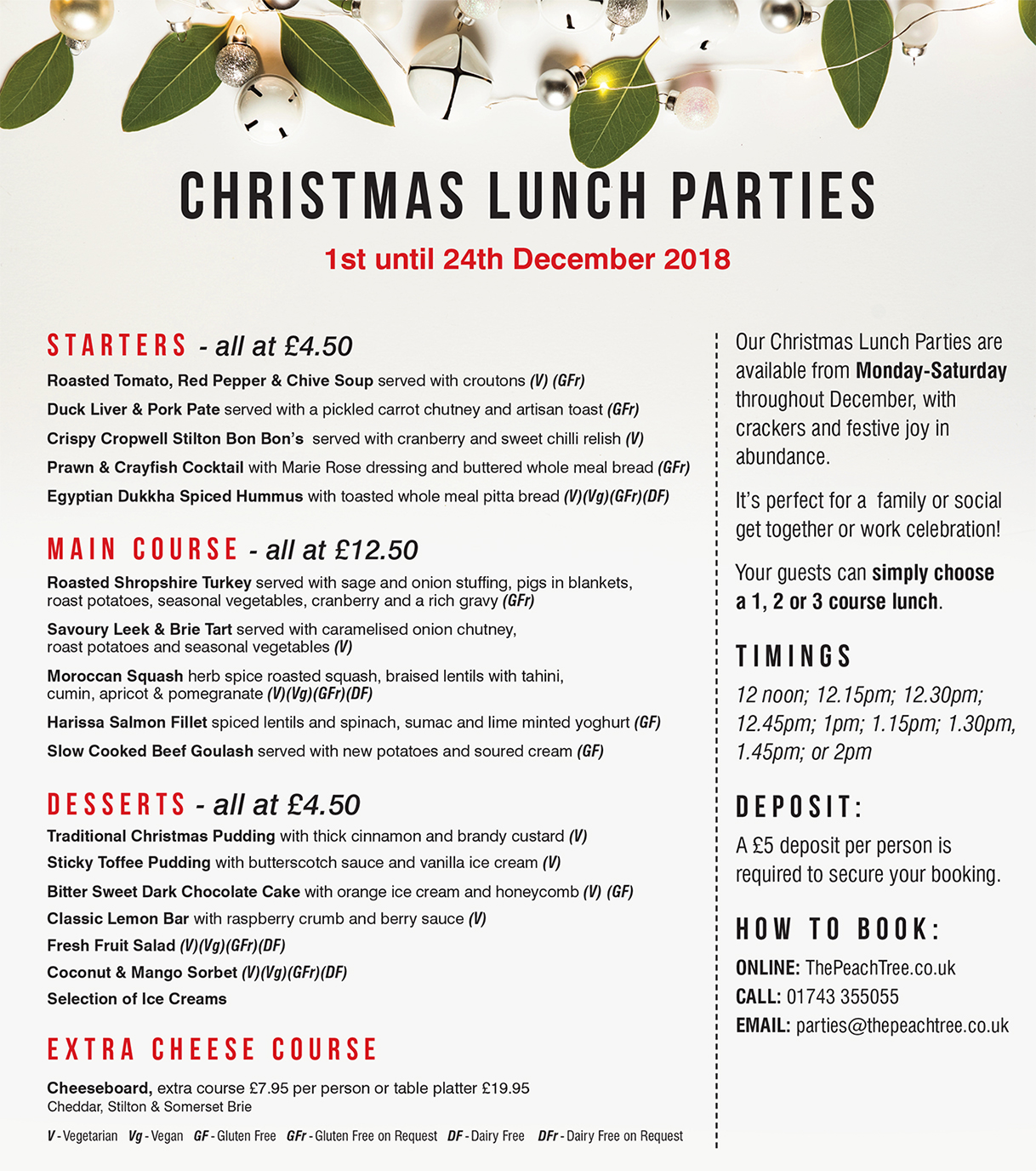 Christmas Party Lunch Menu